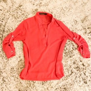Tops - Coral V Neck Blouse with Quarter Length Sleeves M